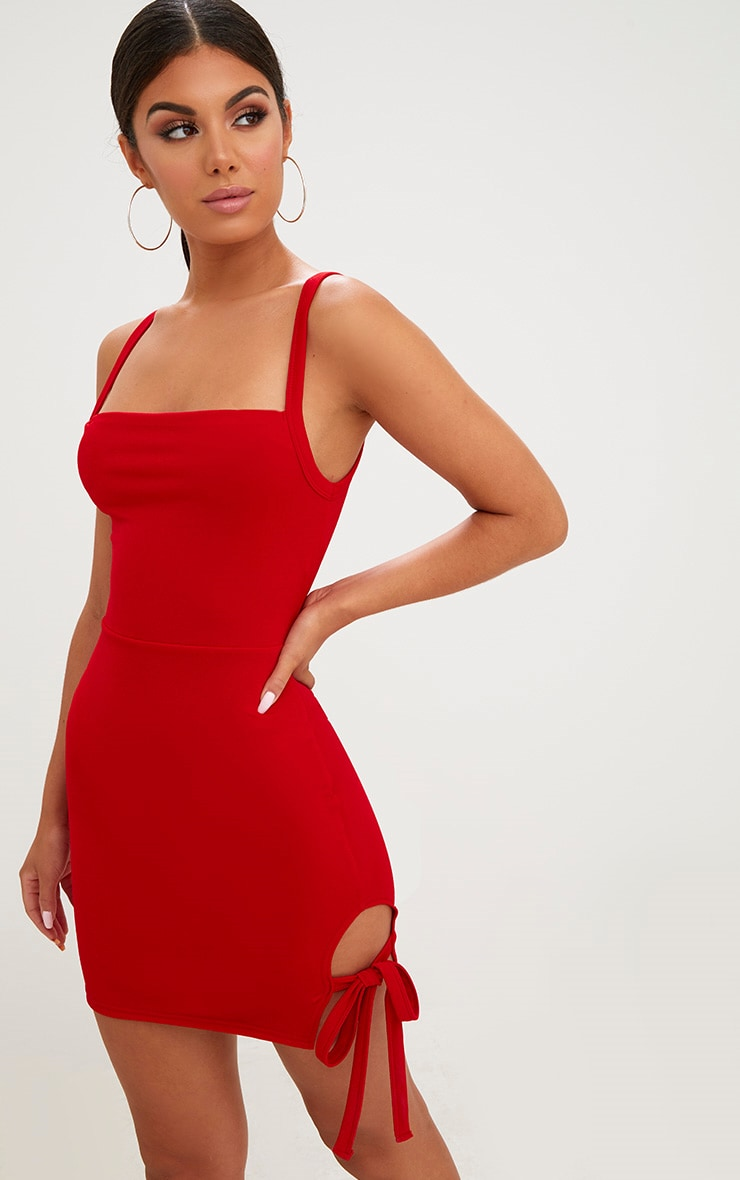 Red Thigh Tie Detail Bodycon Dress