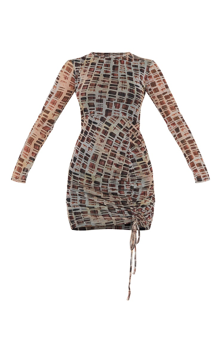 Nude Check Print Mesh Long Sleeve Ruched Skirt Bodycon Dress 5
