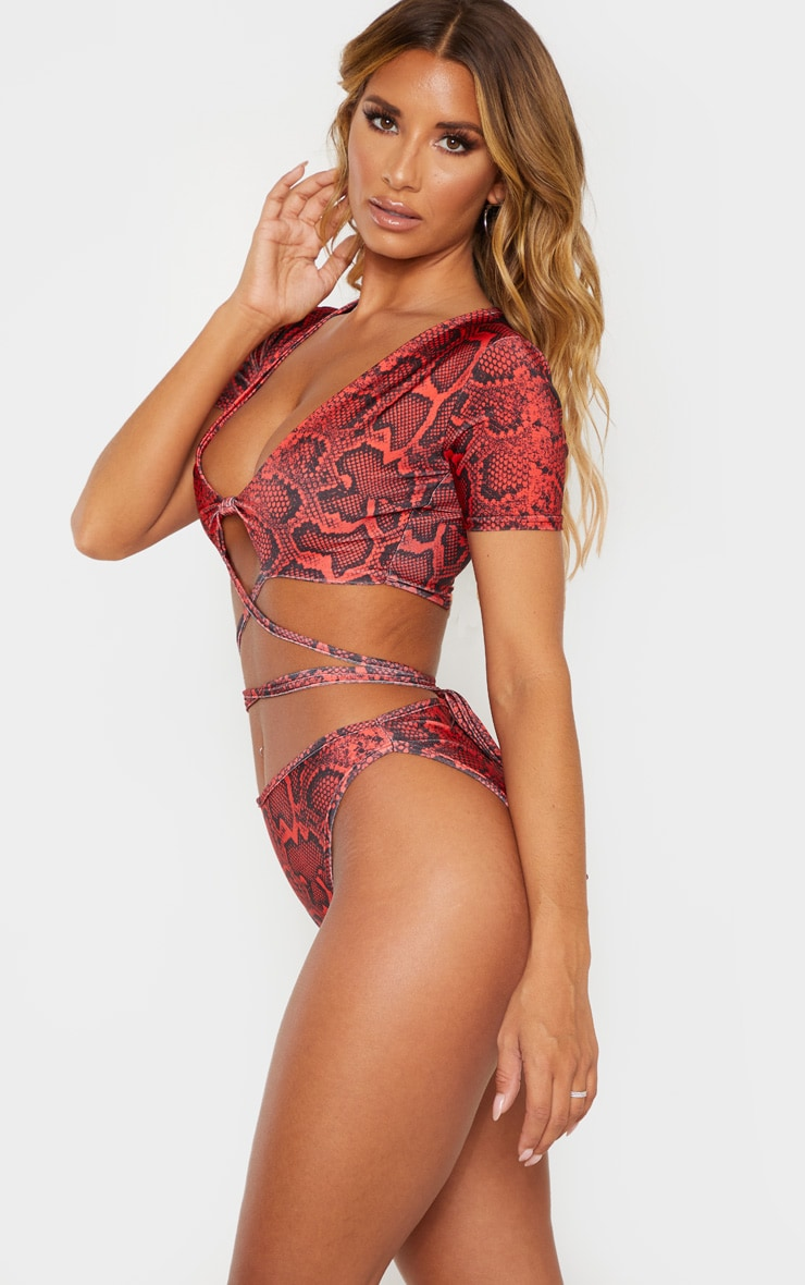 Red Snake Print High Cut Bikini Bottom 2