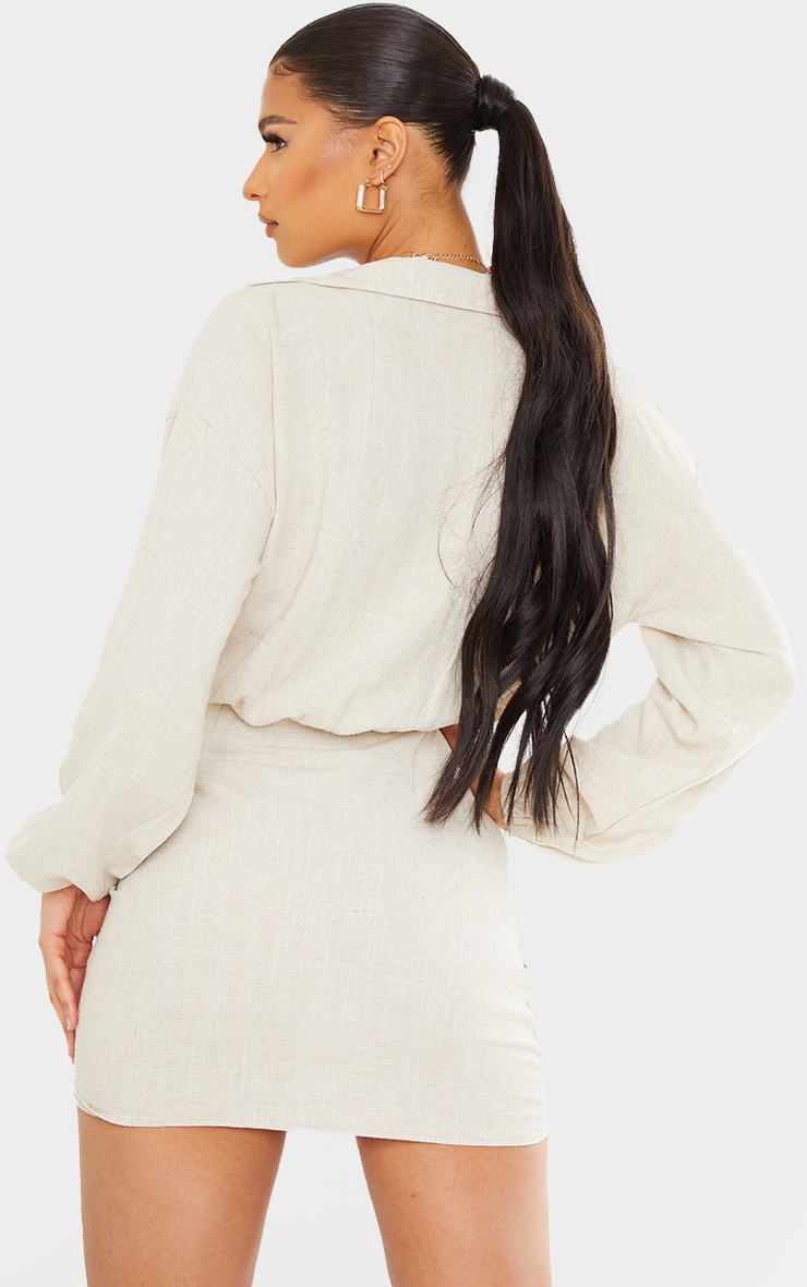 Stone Linen Long Sleeve Plunge Ruched Shirt Dress 2