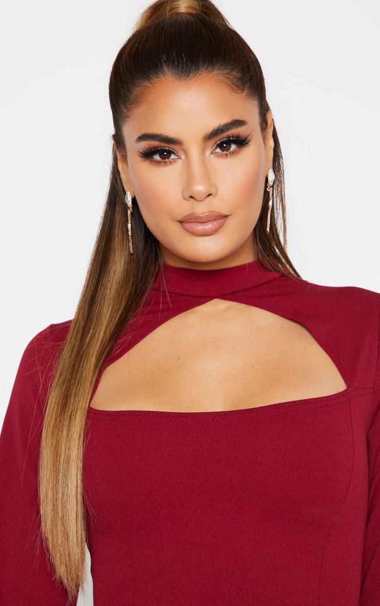 Tall Burgundy High Neck Cut Out Long Sleeve Dress  5