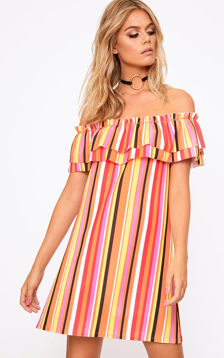 Orange Striped Frill Shift Dress 1