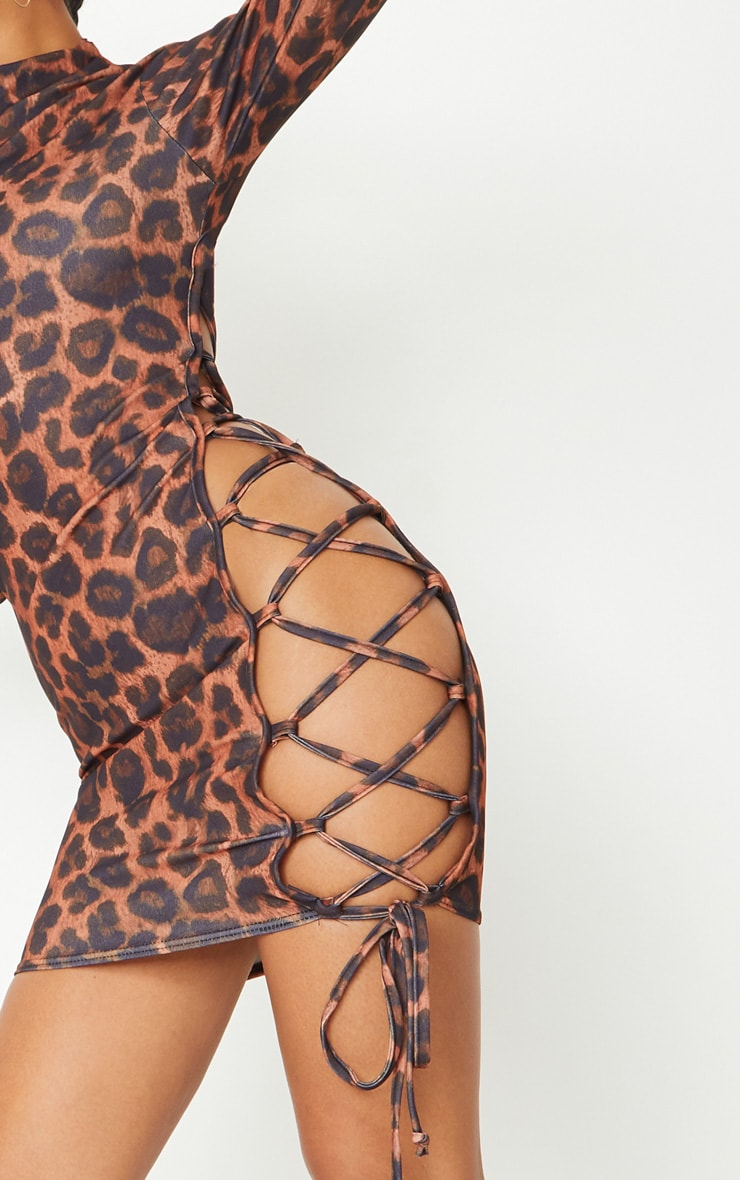 Brown Leopard Print High Neck Cut Out Side Seam Bodycon Dress 4