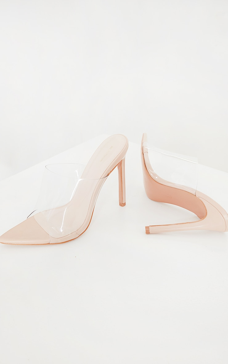Nude Clear Strap Pu Point Toe High Heels 3