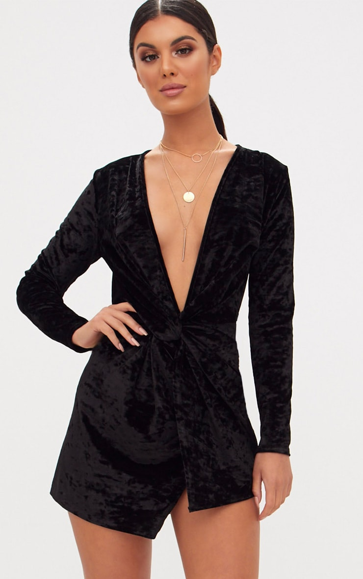 Black Velvet Knot Front Long Sleeve Bodycon Dress 1