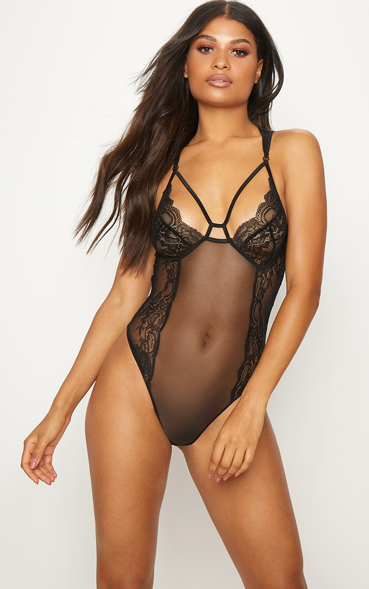 Black Mesh Insert Cut Out Cup Body