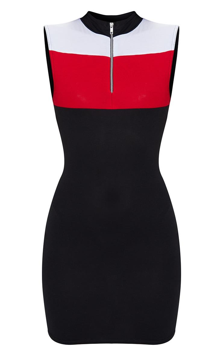 Black Mono Contrast Zip Bodycon Dress 5