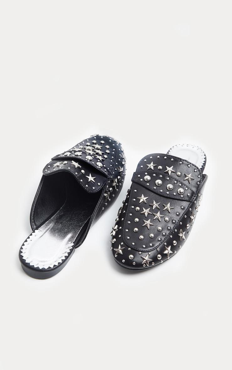 Black Studded Star Slip On Mule 4