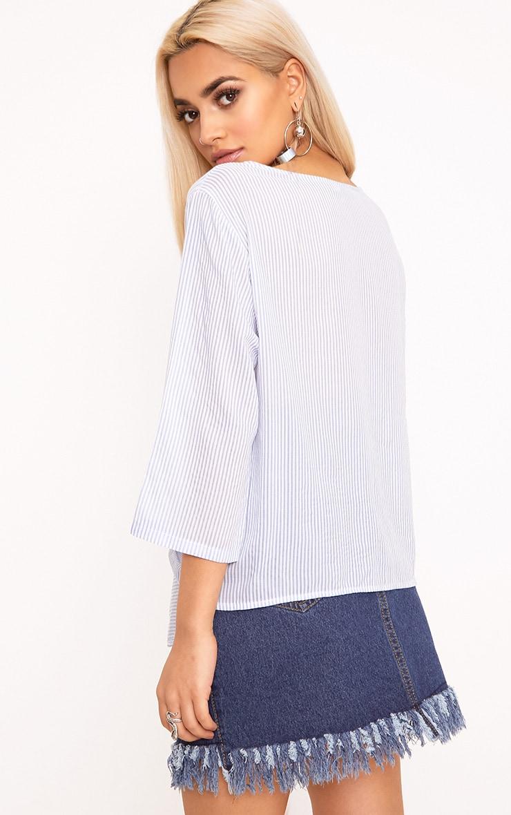 Waiola Blue Stripe Tie Front Shirt 2
