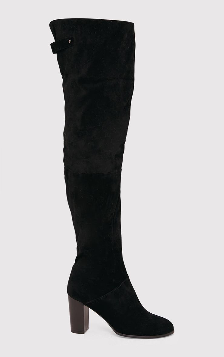 Keyra bottes cuissardes noires en imitation daim 2