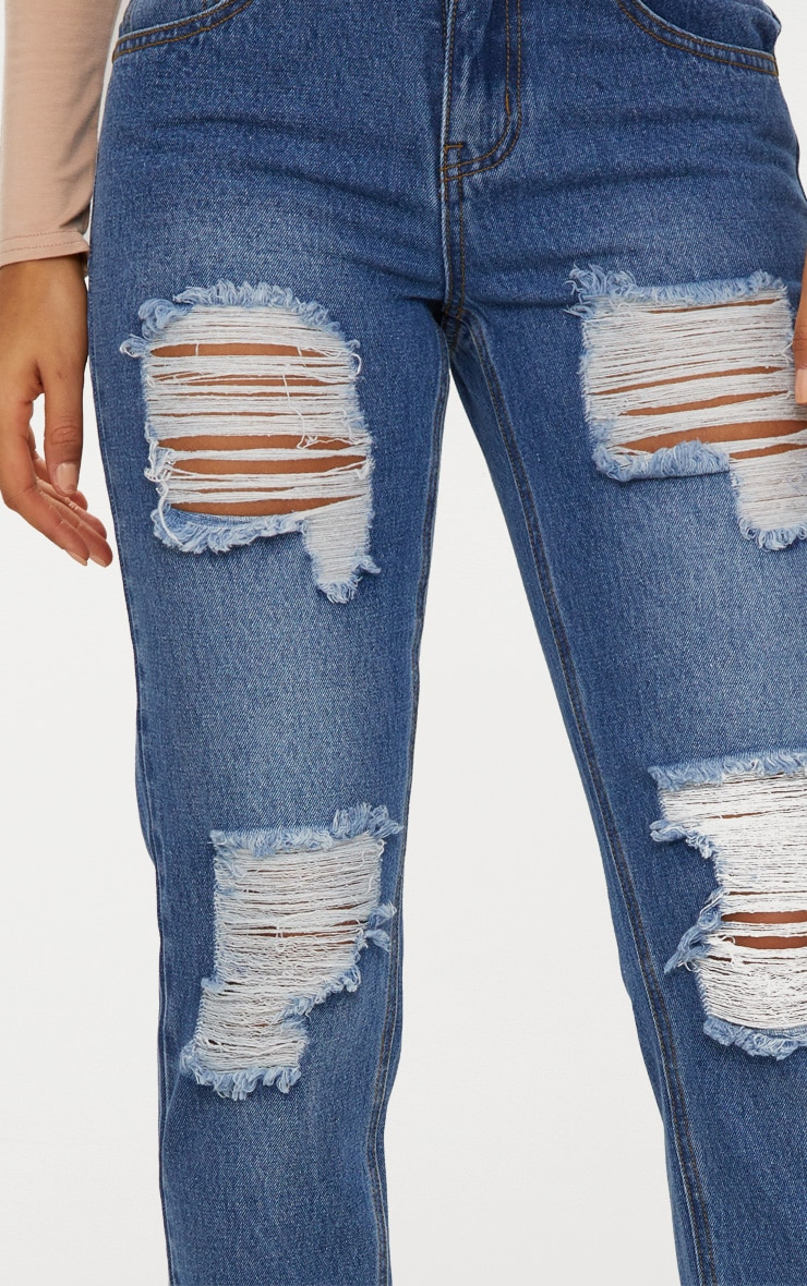 Mid Wash Extreme Ripped Turn Up Mom Jeans 6