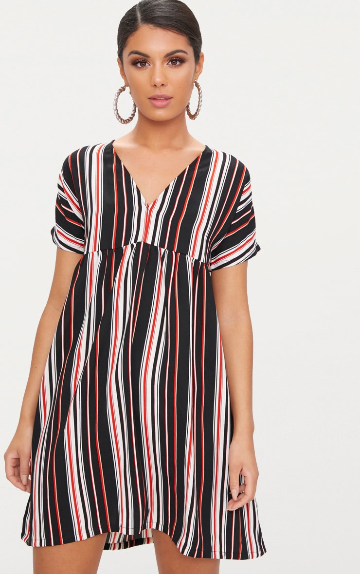 Black Stripe Smock Dress 1