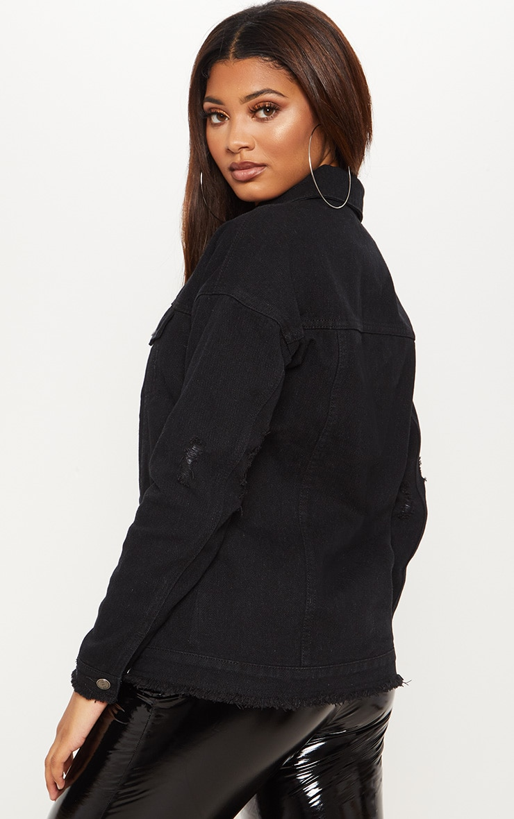 Tall Black Oversized Denim Jacket 2