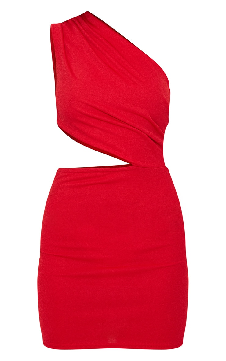 Red One Shoulder Cut Out Bodycon Dress 3