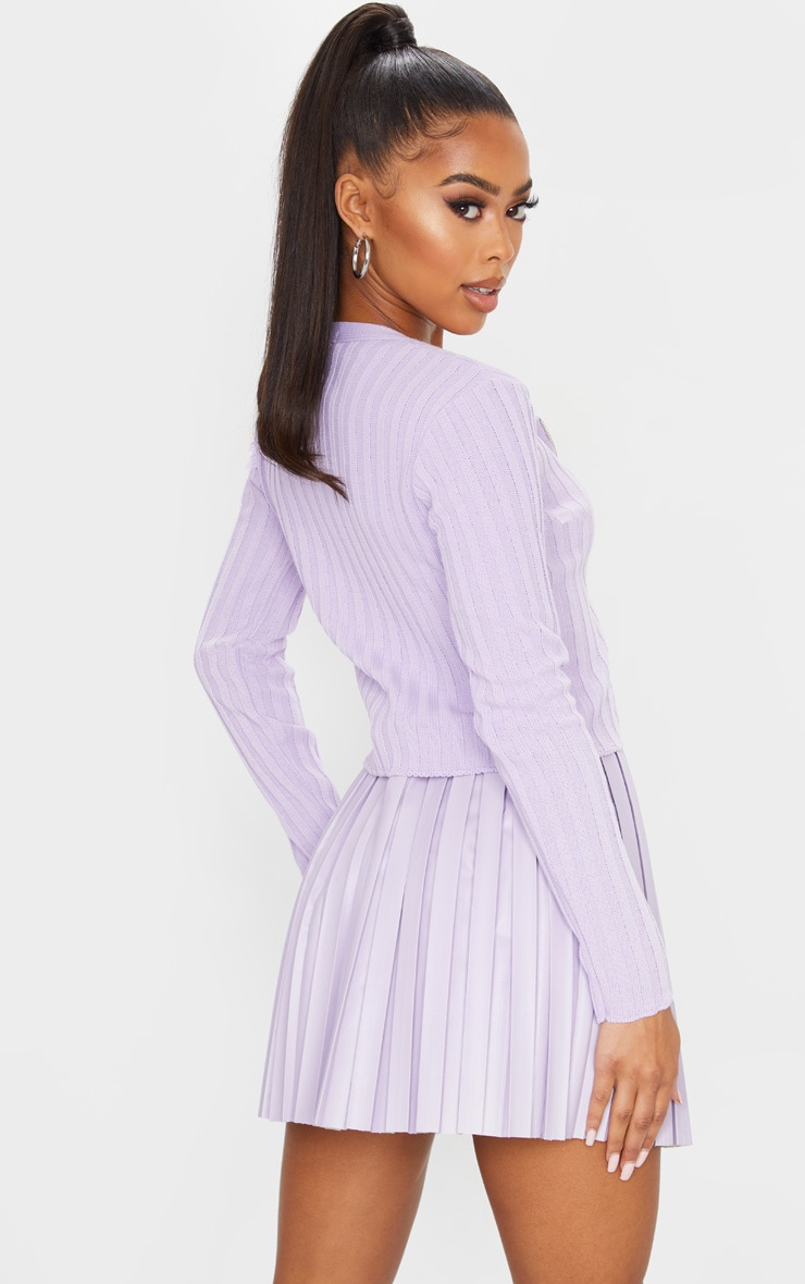 Lilac Double Ended Zip Wide Rib Knitted Top 2