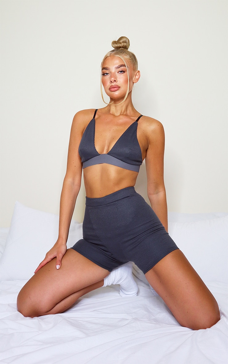 Charcoal Grey Ribbed Plunge Bralet 3