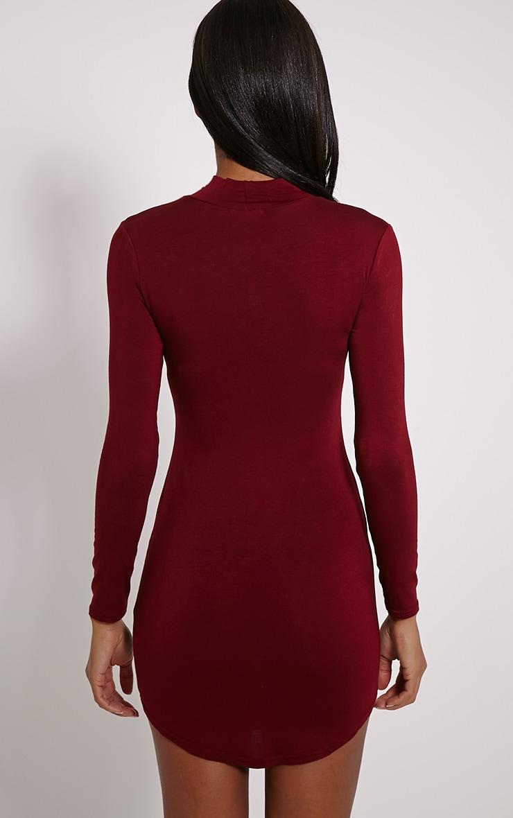 Alby Burgundy Curve Hem High Neck Dress 2
