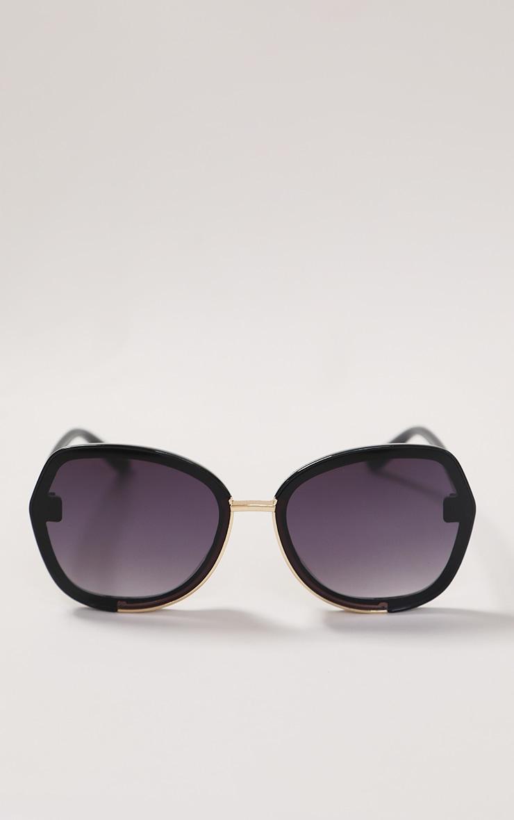 Black Fade Oversized Round Sunglasses 1