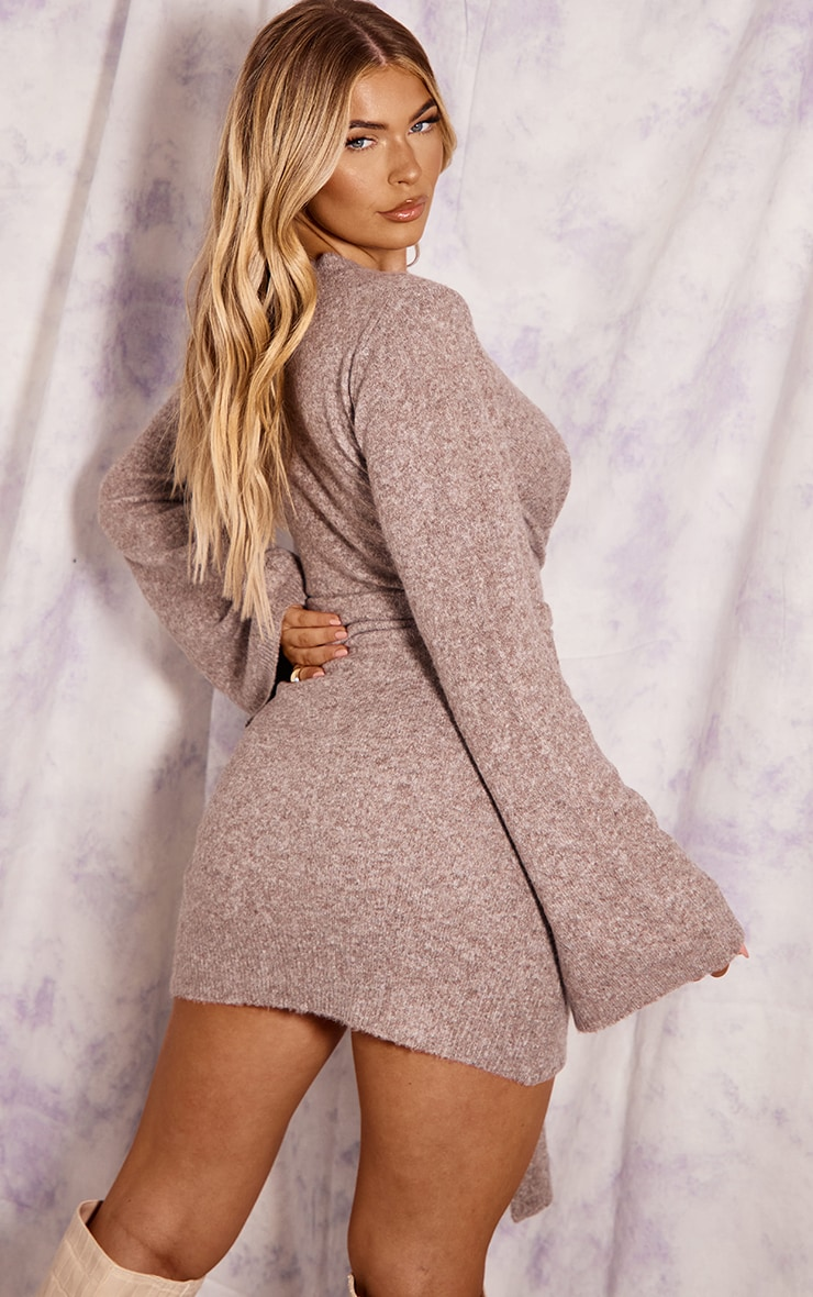 Recycled Mocha Knitted Tie Front Wide Sleeve Dress 2