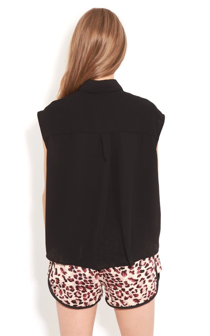 Effie Black Chiffon Sleeveless Shirt-S/M 2