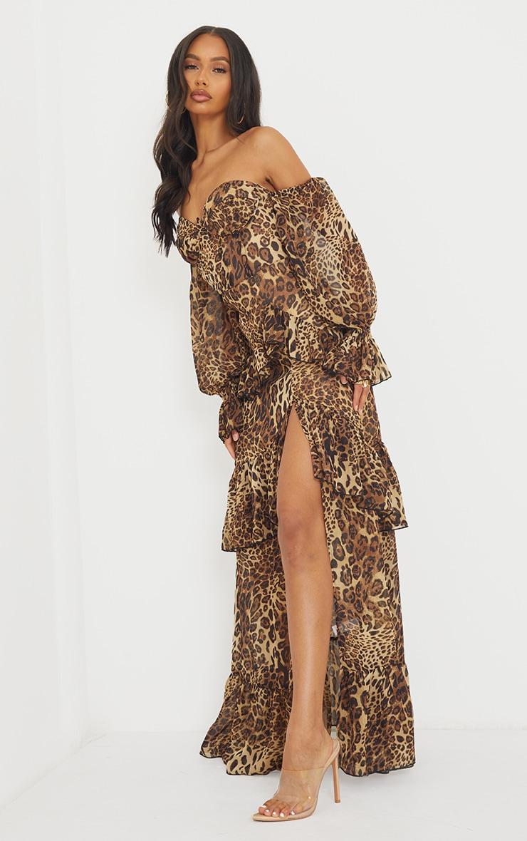 Tan Leopard Bardot Chiffon Cup Detail Maxi Dress 1