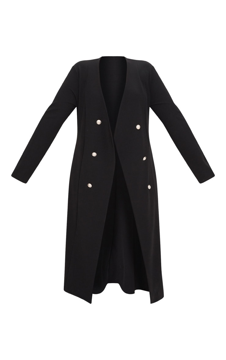 Plus Black Military Button Detail Duster Coat 3