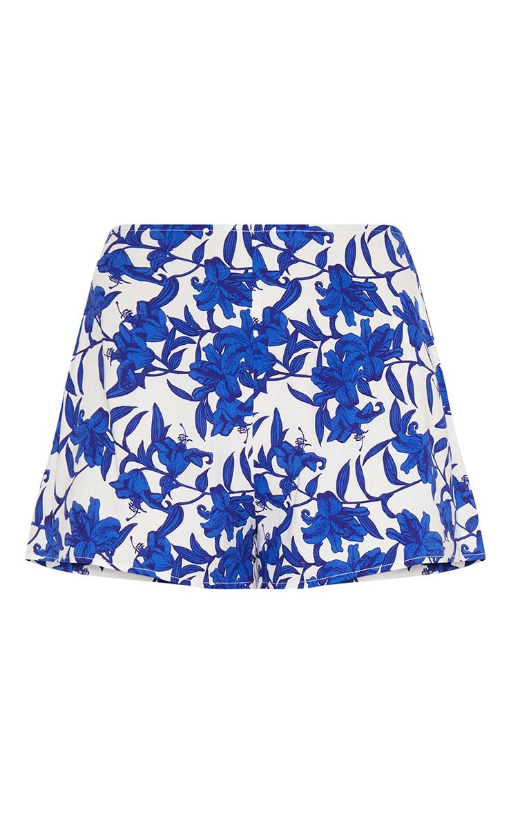 White Floral Print Shorts 3