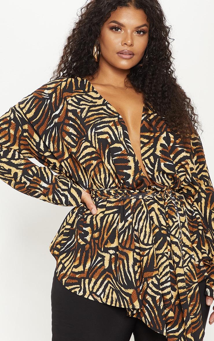 Plus Brown Tiger Print Satin Tie Waist Blouse 5
