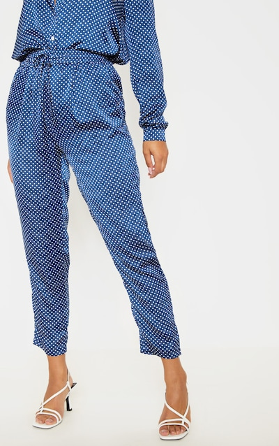 Navy Polka Dot Print Cigarette Trouser