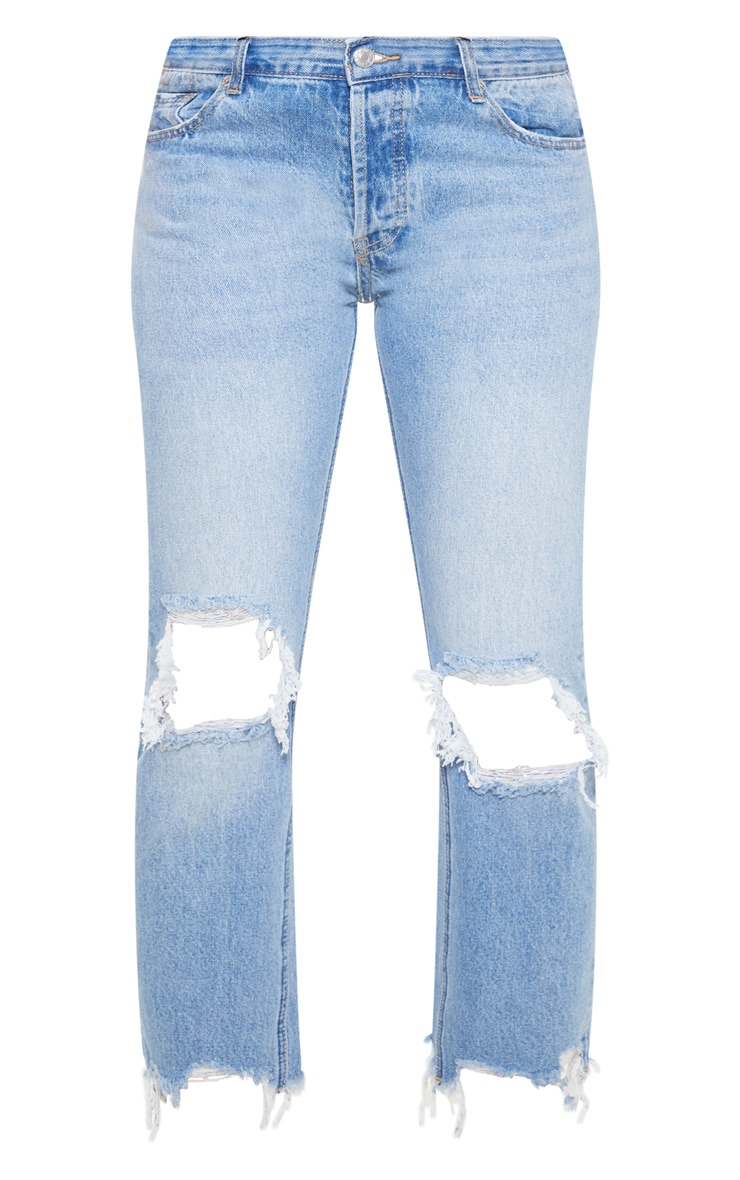 Mid Wash Low Rise Distressed Knee Rip Jeans 3