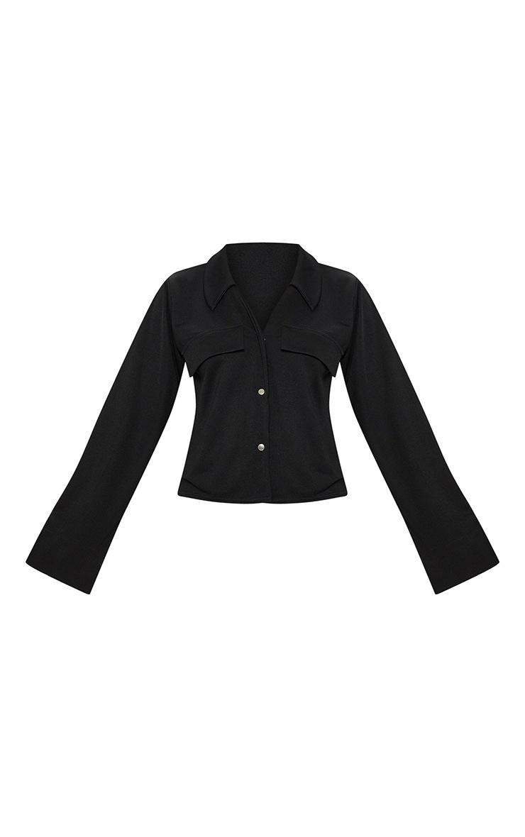 Chemise noire oversized à détail poches 3