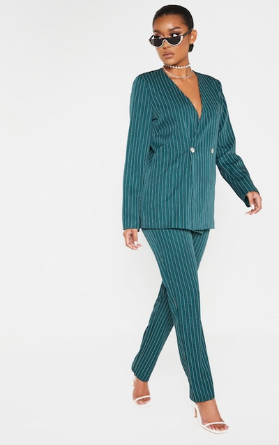 Jasper Green Pinstripe High Waisted Straight Leg Trouser