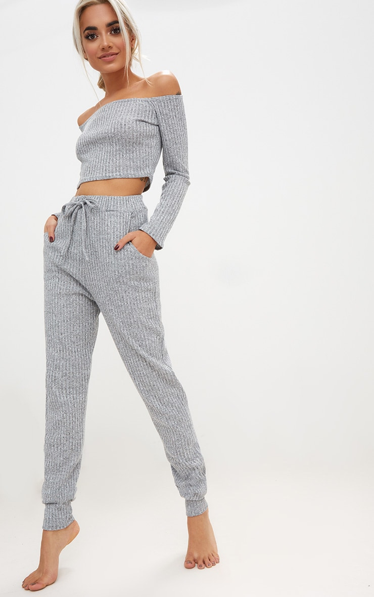 Grey Marl Bardot Knit Set 4