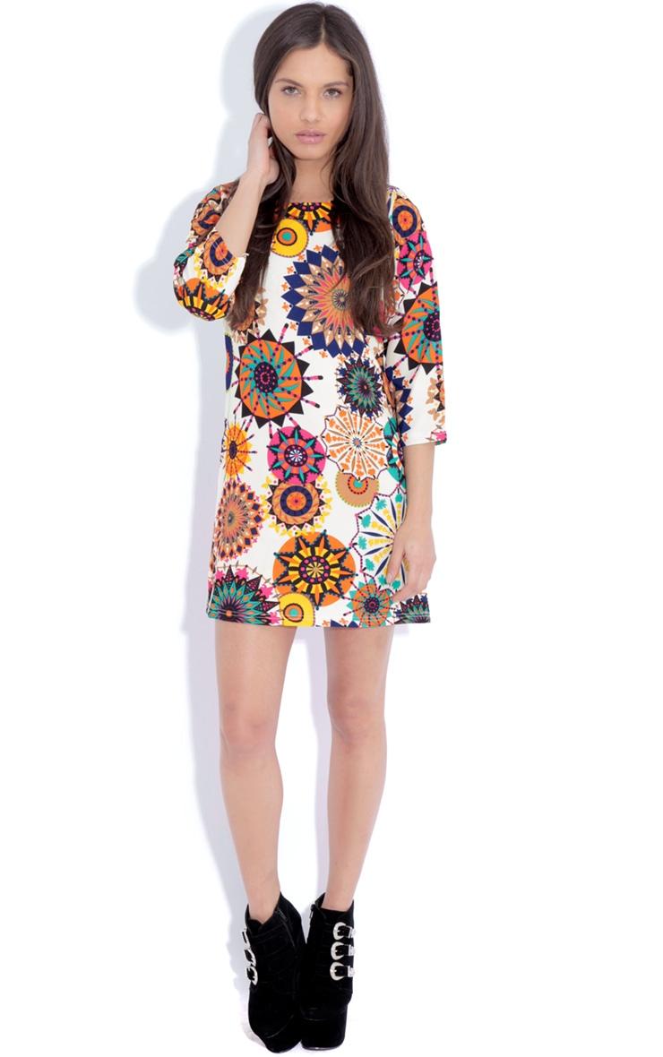 Hope Beige Hippy Print Shift Dress 3