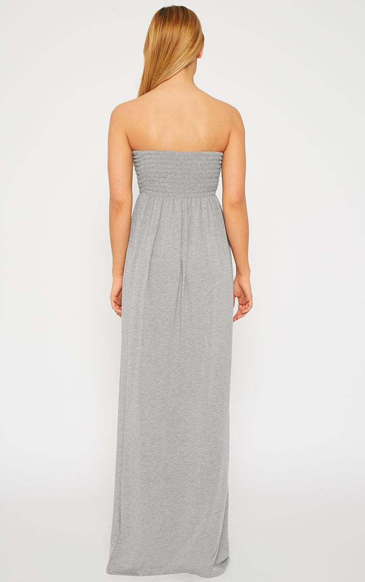 Tamara Grey Elasticated Bandeau Jersey Maxi Dress 2