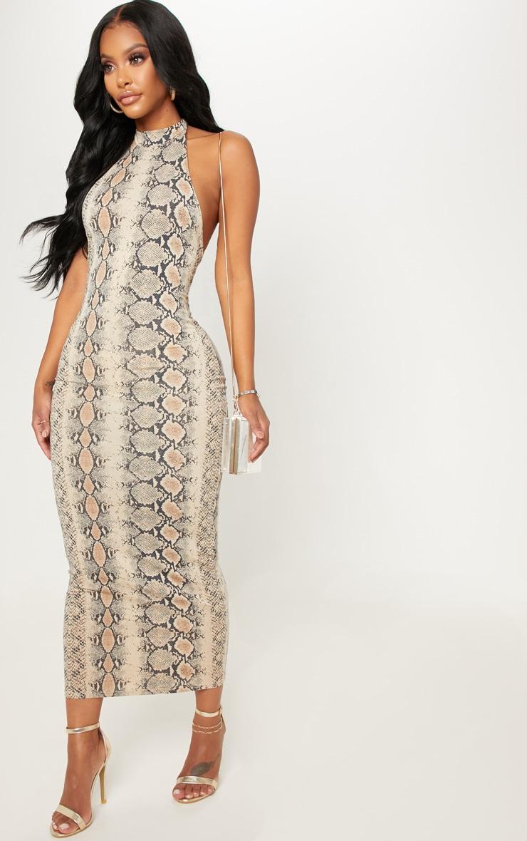 Shape Taupe Snake Print Halterneck Midaxi Dress 4