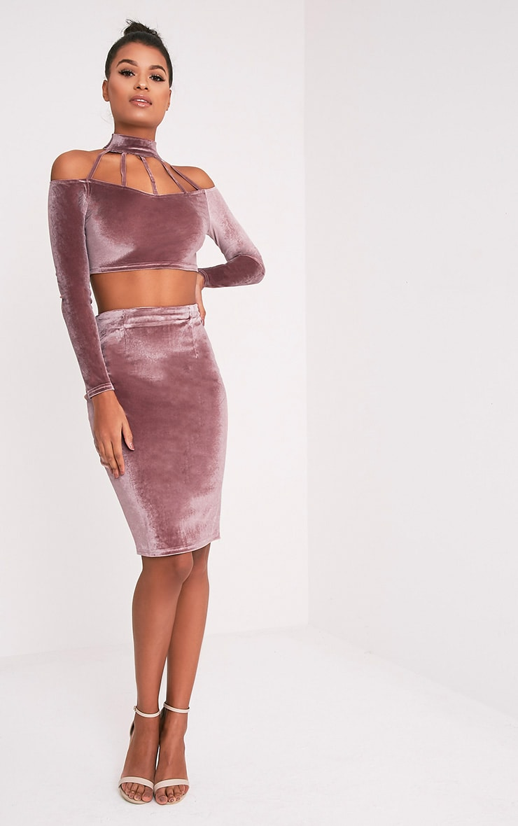 Whitney Pink Velvet Midi Skirt 1