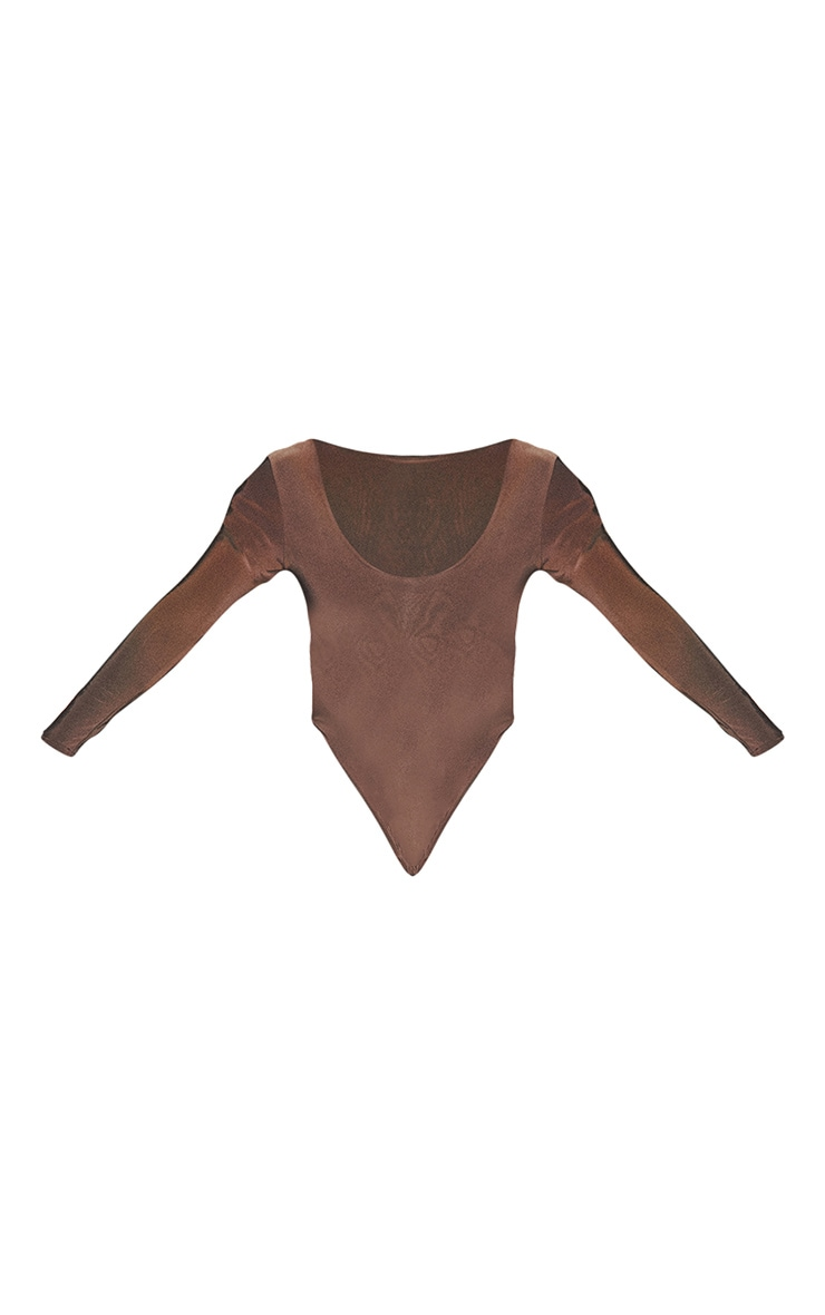 Plus Second Skin Espresso Scoop Neck Long Sleeve Bodysuit 5