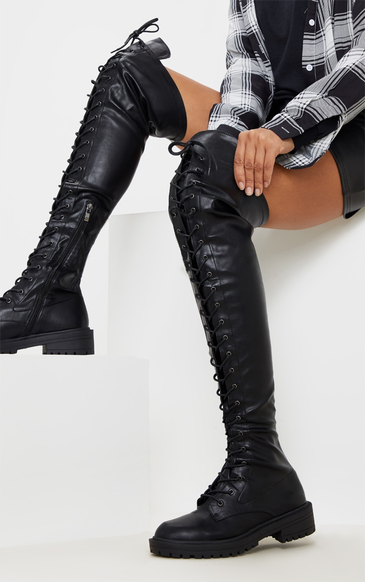 Black Lace Up Cleated Flat Over The Knee Boot 2