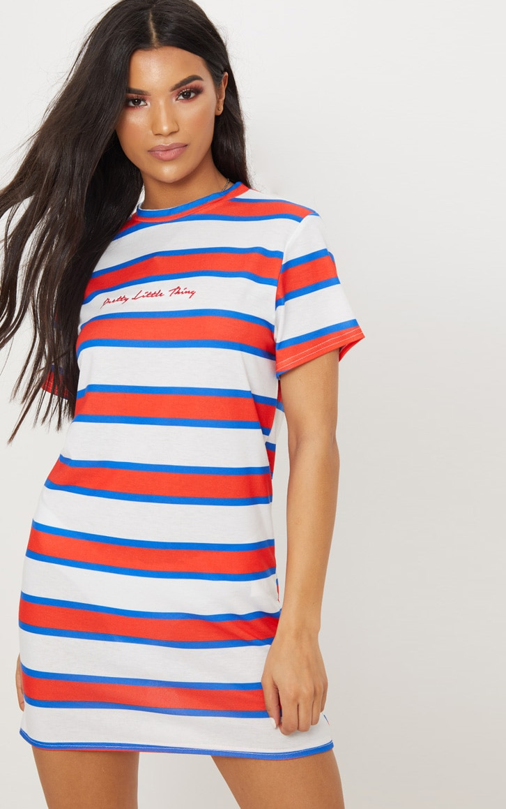 PRETTYLITTLETHING Embroidered White Stripe Oversized T Shirt Dress 1