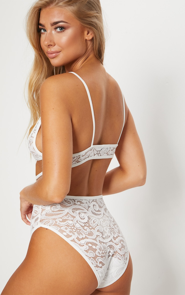 White Cut Out Cup Lace Body  1