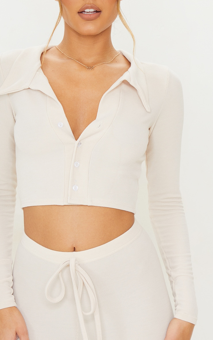 Cream Ribbed Plunge Front Collar Detail Long Sleeve Top 4
