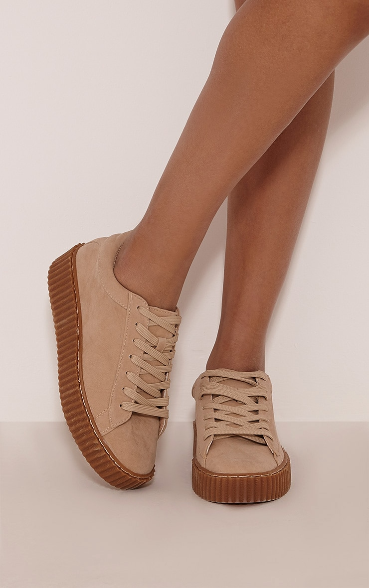 Cia Nude Faux Suede Creeper Trainers 1