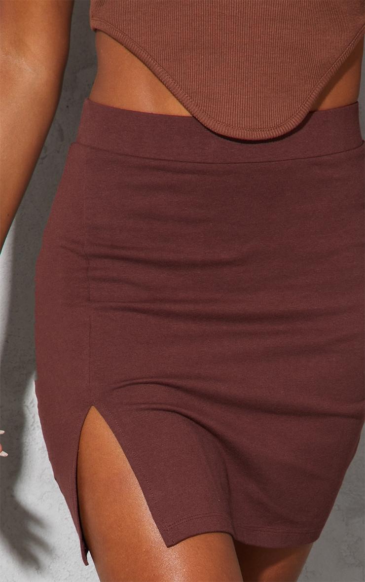 Chocolate Cotton Stretch Split Front Mini Skirt 5