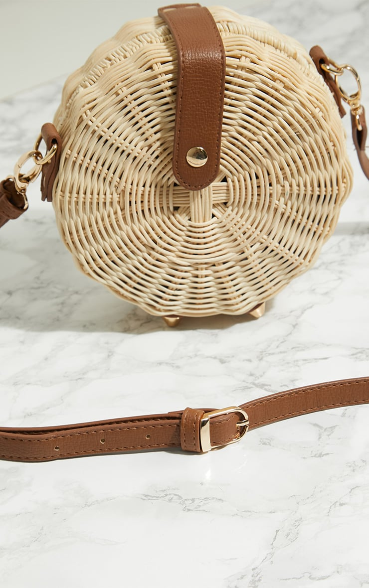 Cream Medium Wicker Cross Body Bag 6