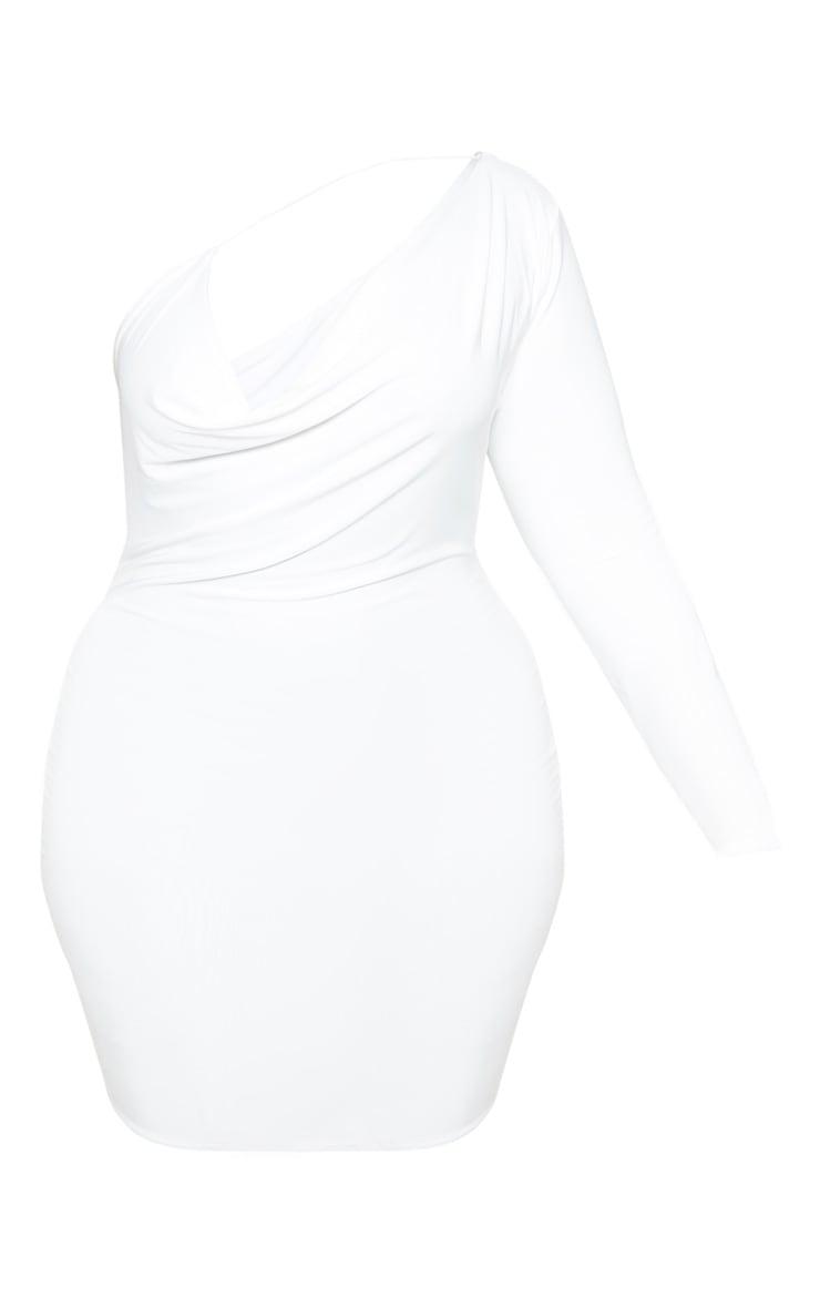 Plus White One Shoulder Cowl Neck Bodycon Dress 3