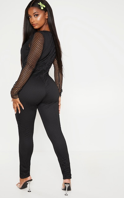 Shape Black Fishnet Long Sleeve Jumpsuit