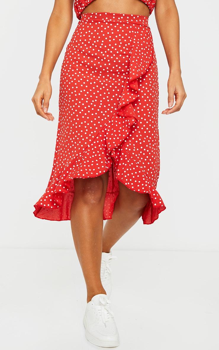 Red Polka Dot Frill Wrap Over Midi Skirt 2