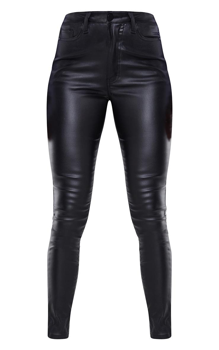 Black Coated Denim Dipped Waistband Skinny Jeans 5