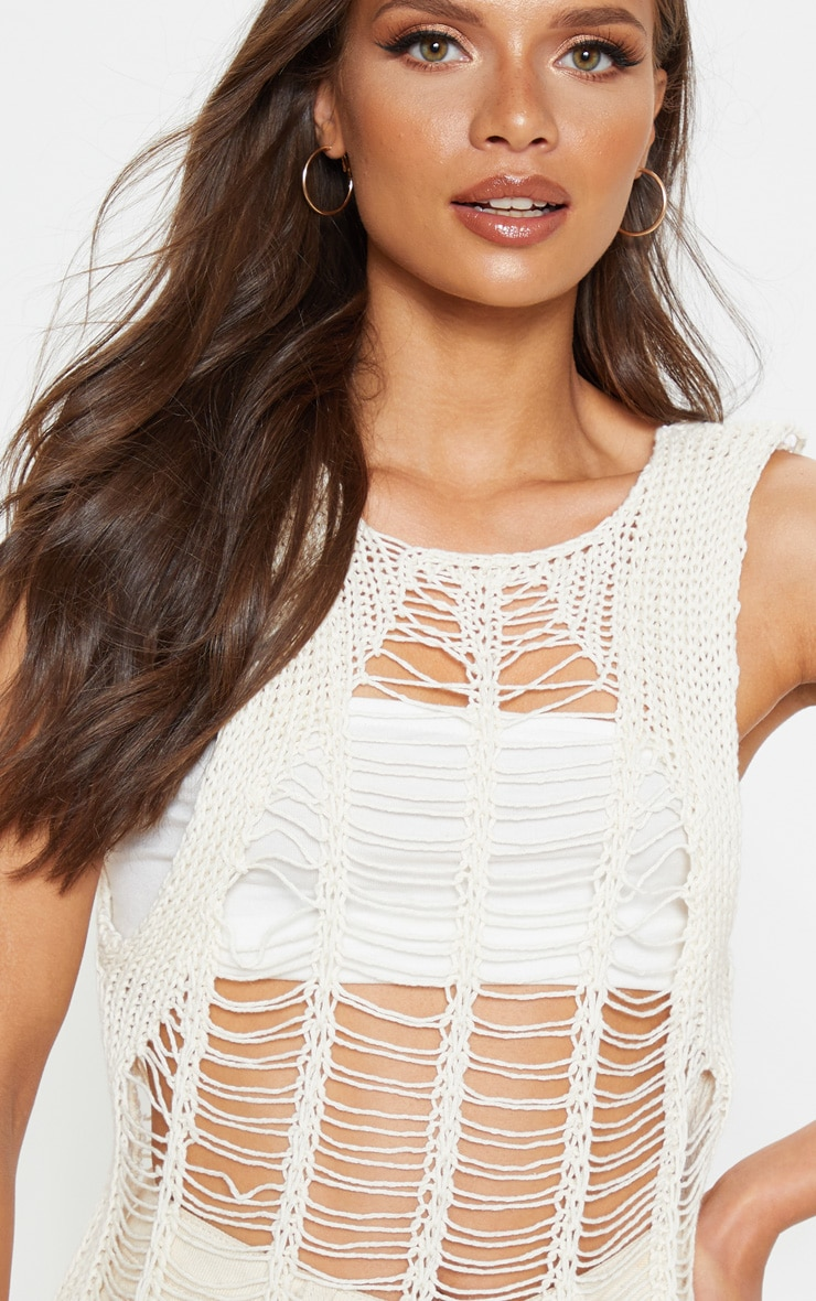 Cream Crochet Ladder Detail Vest Top  5
